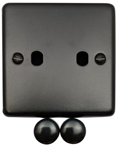G&H CFB12-PK Standard Plate Matt Black 2 Gang Dimmer Plate Only inc Dimmer Knobs
